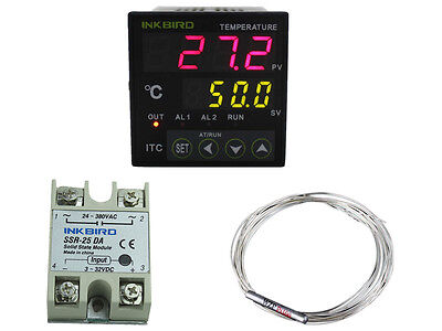 INKBIRD Digital PID Temperature Controller heating +25 SSR + PT100 heater fan