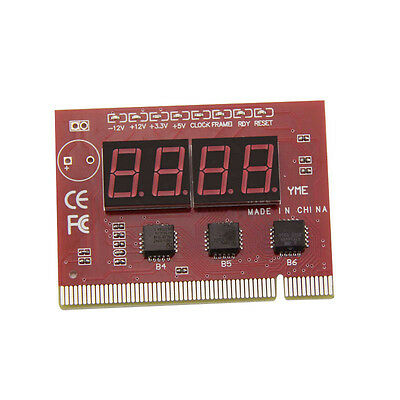 PC 4-digit Code Mainboard Motherboard Diagnostic Analyzer Tester PCI Card Red