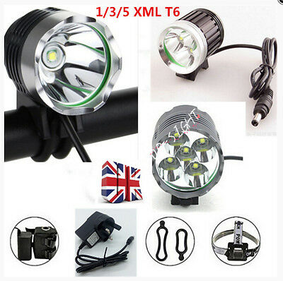 1/3/5x XMLT6 Mountain Bike Bicycle Cycling Head Front Light Headlamp+Battery