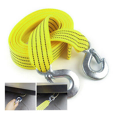 3 Tons Car Tow Cable Towing Strap Rope With Hooks Emergency Heavy Duty