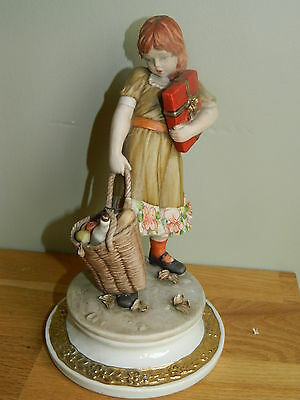 Vintage Capodimonte pottery figurine of girl with shopping by Sandro Maggioni