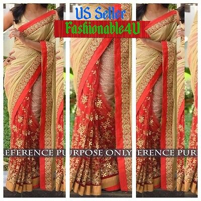 Bollywood Designer Women Indian Ethnic Wedding/party Wear Saree/sari