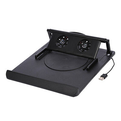 New 360° Rotating Adjustable Notebook  Laptop USB Cooling Pad Cooler Dual Fan