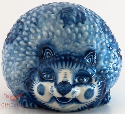 Gzhel porcelain Hedgehog penny box Piggy bank figurine Author's work