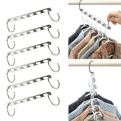 6x Multi-function​​ Metal Clothes Closet Wardrobes Hangers Space Save Organizers