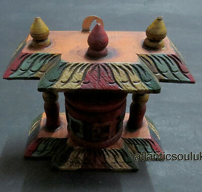 P30 Buddhism OM Mantra carved wooden religious stand prayer wheel Nepal Tibet