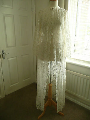Vintage White 90's Lace Coat Wedding Hen night Costume Party Theatre Fancy 12-14