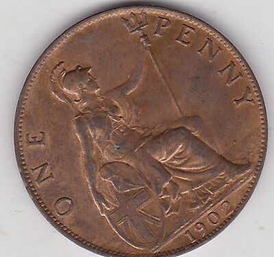 1902 Edward Vii Penny In Near Mint Condition