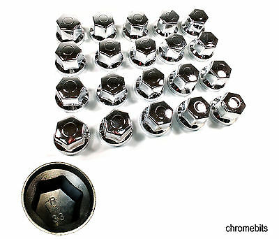 60 Pcs X 33 Mm Wheel Nut Cover Chrome Caps For Mercedes Man Daf Scania Volvo