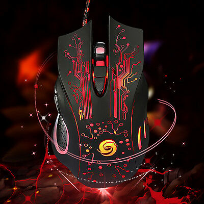 Gaming PRO Maus 6 Button LED 5500DPI Optisch USB Mouse Mice For PC Laptop