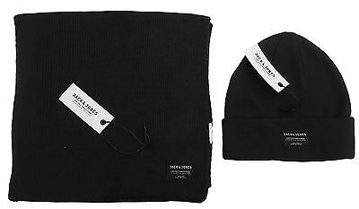 Mens Jack and Jones Two Piece Hat & Scarf Set - DNA Black