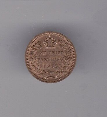 1913 George V Third Farthing In Extremely Fine Condition Issued For Malta