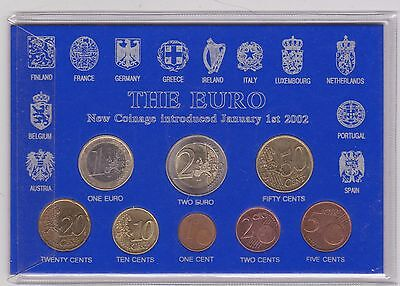 Cased 2002 To 2004 Luxembourg 8 Coin Euro Set In Near Mint Condition