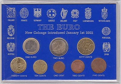 Cased 2002 Portugal 8 Coin Euro Set In Near Mint Condition