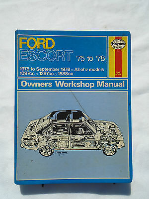 Ford Escort MK2 Haynes Manual 1975 - 1978 All OHV Models 1097,1297,1588 CC