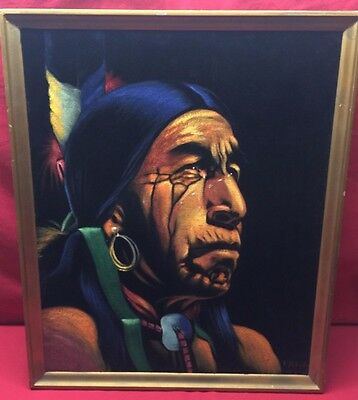 Native American Indian Portrait Oil Painting on Velvet by Paha Ska SIGNED