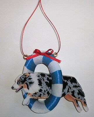 AUSTRALIAN SHEPHERD Wooden AGILITY ORNAMENT - Blue Merle - Hand Crafted!