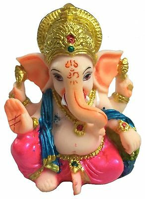 "Resin God Figure Raja Ganesha 3"" Inchs Ganesh Lord Hindu Elephant Statue #2"