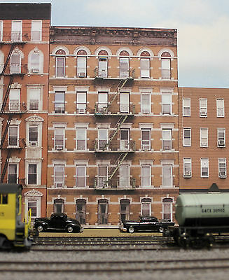 #325 O scale background building flat OLD APARTMENT BUILDING # 2 *FREE SHIPPING*