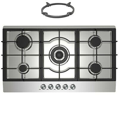 Cookology GH905SS | Stainless Steel 90cm Built-in 5 Burner Gas Hob & Wok Stand