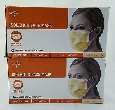 Medline Isolation Face Mask W/ Earloops Yellow NON27122 2 boxes of 50