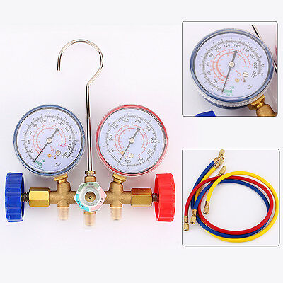 Refrigeration Air Conditioning AC Diagnostic Manifold Gauge Tool Set UK