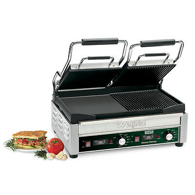 "Waring WDG300T Dual Panini Grill 17"" x 9.25"" - 1 Ribbed 1 Flat Side & Timer"