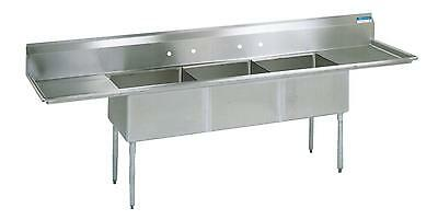 "BK Resources 3 Compartment Sink S/s w/ 18x24x14""D Bowls & 2 Drainboards"