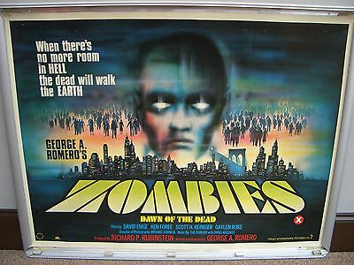 zombies dawn of the dead 1978 ROLLED quad cinema film poster  George A. Romero