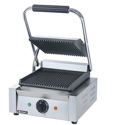 "Adcraft SG-811 Single 8"" x 8"" Electric Ribbed Sandwich / Panini Grill"