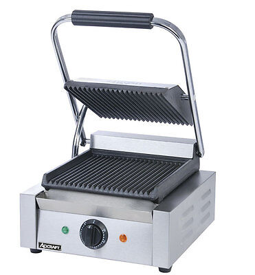 """Adcraft Single 8"""" X 8"""" Electric Ribbed Sandwich / Panini Grill - Sg-811"""