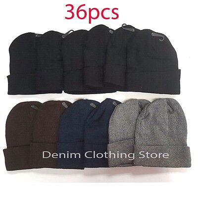 36pcs Wholesale Lot Men Women Beanie Knit Ski Cap Skull Cuff Winter Hats Black