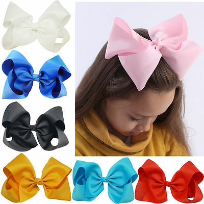 3/4/6/8 Inch Hair Bows Baby Girls Grosgrain Ribbon Knot Large With Clip 24Colors
