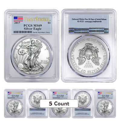 Lot of 5 - 2017 1 oz Silver American Eagle $1 Coin PCGS MS 69 First Strike (Flag
