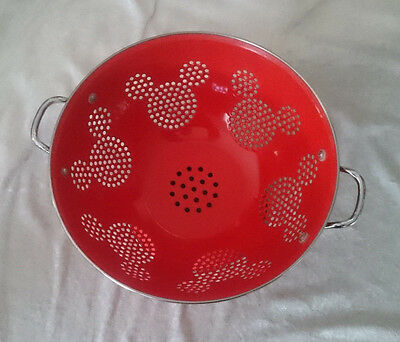 Large Disney Mickey Mouse Colander Red Enamel On Stainless Steel Adorable! NWOB