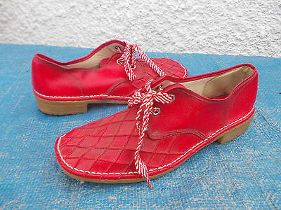 Vintage Condados Red Faux Leather Lace Up Shoes-Sz 7 Gvc Made In Hong Kong
