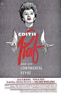 EDITH PIAF and her Continental Revue / Biltmore Theatre 1955 Los Angeles Flyer