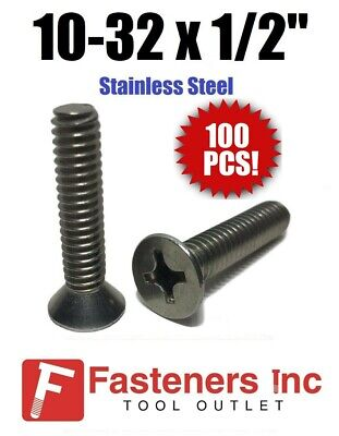 "(Qty 100) 10-32 x 1/2"" Phillips Flat Head Machine Screws Stainless Steel"