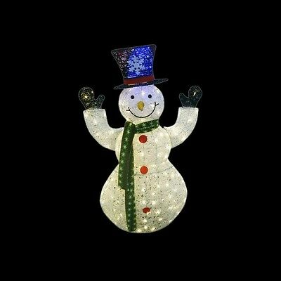 Christmas Outdoor Yard Decor 50 in. White Thread Snowman 100 LED Lights Plug In