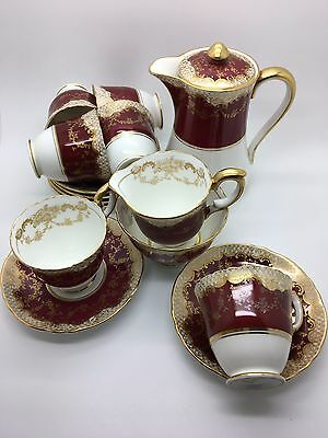A Rare & Stunning Crown Staffordshire Coffee Set No. A15098 From The 1930's