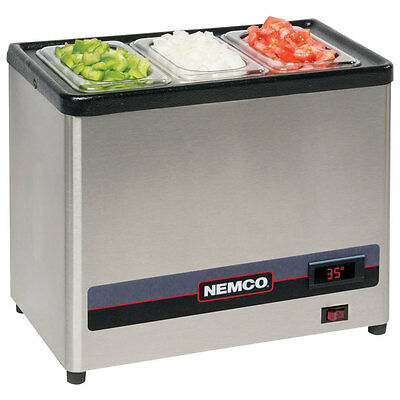 Nemco 9020-3 Countertop Cold Condiment Chiller with (3) 1/9 S/S Pans