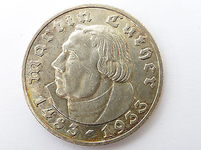 D705    DRITTES REICH 5,- Mark 1933 A  LUTHER