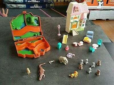 Type Polly Pocket Set Quick Elephant Jungle + 4 Animaux Et Candy House Oursons