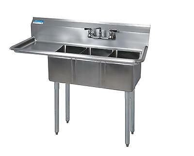 "BK Resources 3 Compartment Stainless Sink 16x20x12D Bowls w/ 18"" DBoard"
