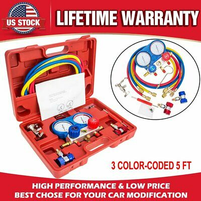500 PSI AC Refrigeration Kit R134a A/C Manifold Gauge Set Air R12 R22 410a R404z