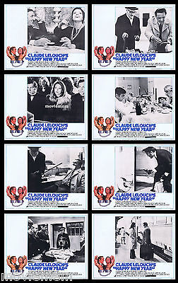 HAPPY NEW YEAR Vintage Lobby Card set Lino Ventura Claude LeLouch