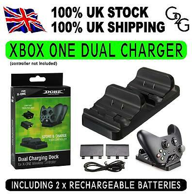 DUAL USB HUB Charging Stand Docking Station for XBOX ONE Controller +2 Batteries