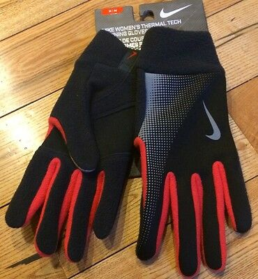 NWT Womens NIKE Black Red Thermal Tech Running Gloves Size XS X-Small