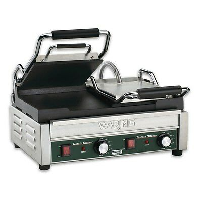 "Waring WFG300T Dual Sandwich Flat Toasting Grill 17"" x 9.25"" w/ Timer 240v"