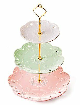 Jusalpha 3-tier Porcelain China Cake Stand-Dessert Stand-Cupcake Stand-Tea Party